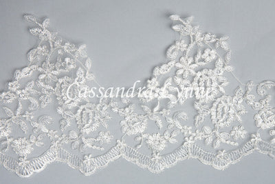 Drop Cut Wedding Veil of Wide Dramatic Lace