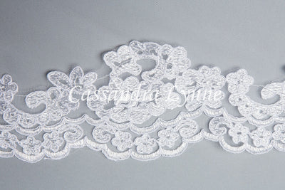 Mantilla Wedding Veil with Floral Lace Floor Length