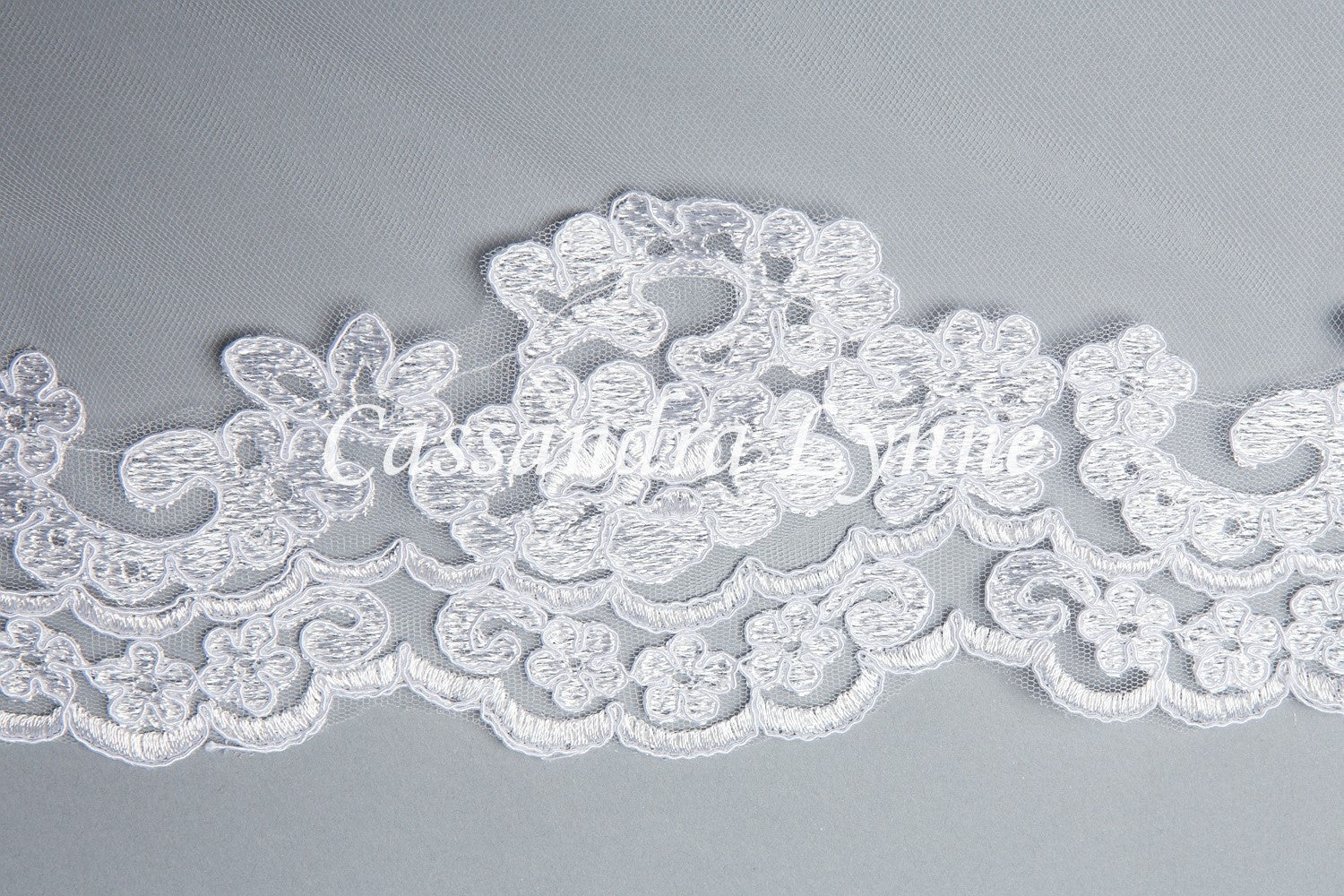 Custom Wedding Veil with Floral Lace Trim