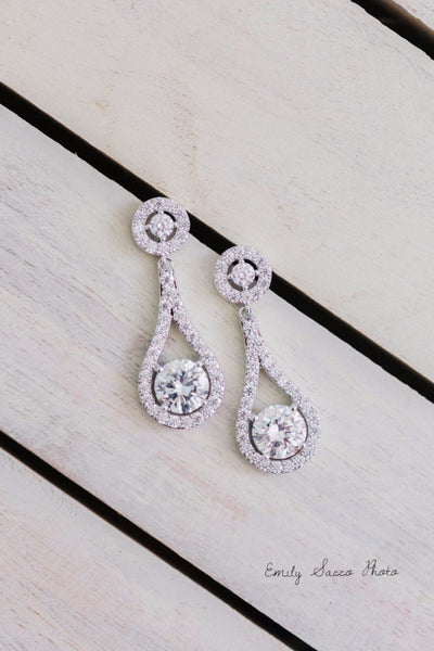 Clip-On Cubic Zirconia Drop Earrings Teardrop Shaped