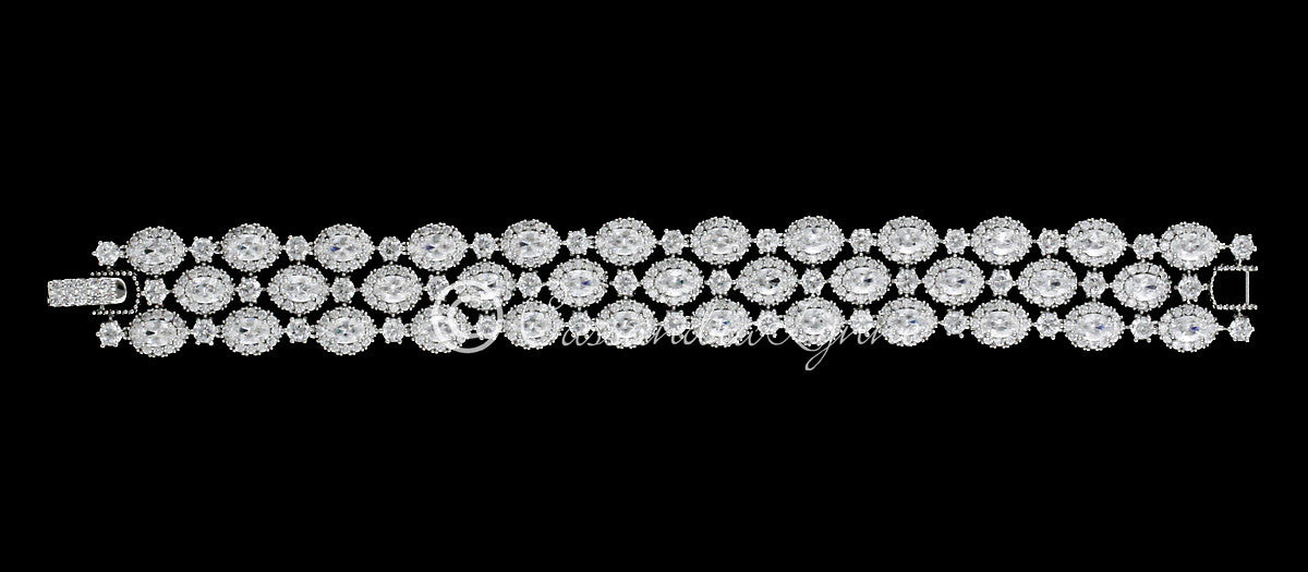 Bridal Bracelet with Triple Row Oval Jewels