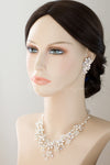 Wedding Necklace Set of Pearl Flowers and Crystals