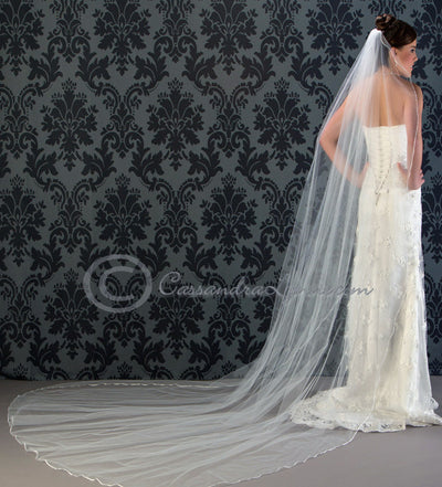 Custom Color Cathedral Wedding Veil with Ribbon Edge
