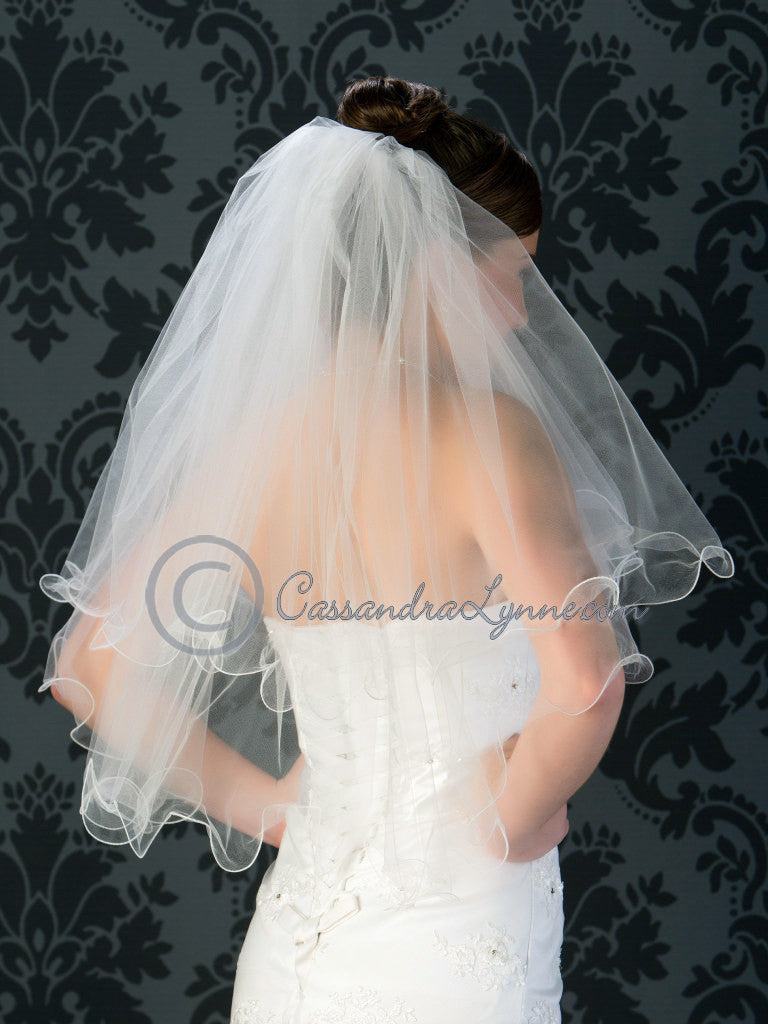 Two tier curly edge veil