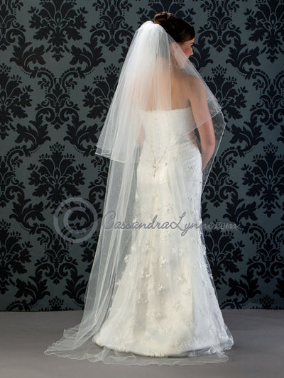 Floor Length Wedding Veil Two Tier with Corded Edge