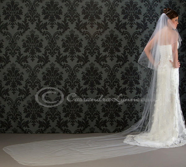 144 Inch Cathedral Royal Veil with Blusher