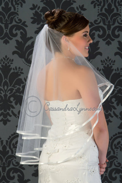 Ribbon edge two tier wedding veil