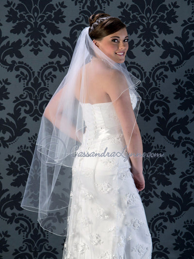Bridal Veil with Corded Edge Knee Length 45 Inches