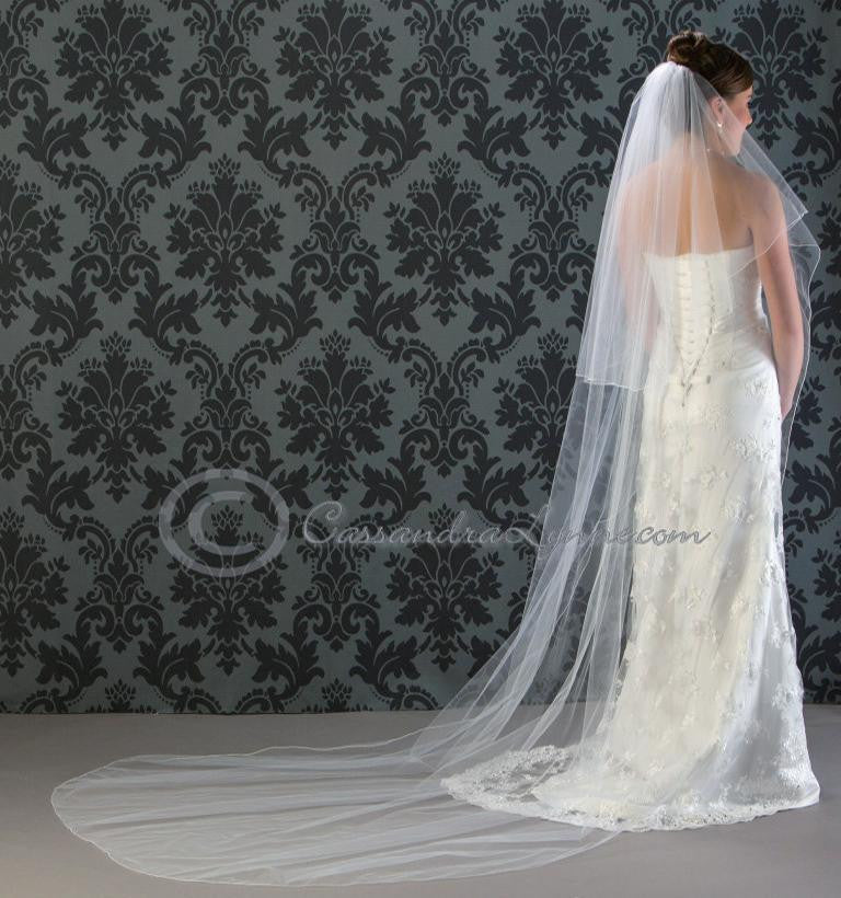 Cathedral Wedding Veil Circular Two Tier with Corded Edge