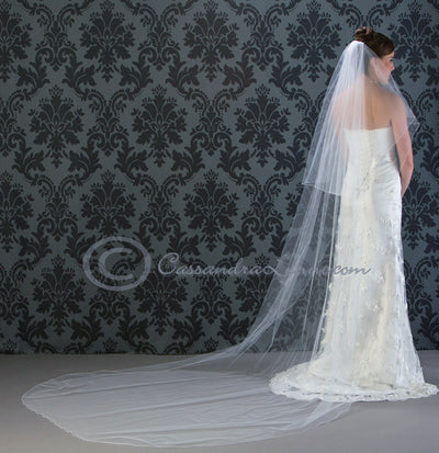 120 Inch corded edge cathedral wedding veil with a corded edge.