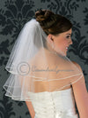 Two tier shoulder length soutache edge bridal veil
