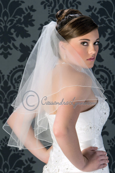 Two tier elbow length wedding veil