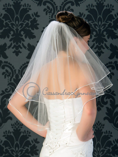 Two tier satin cord edge veil