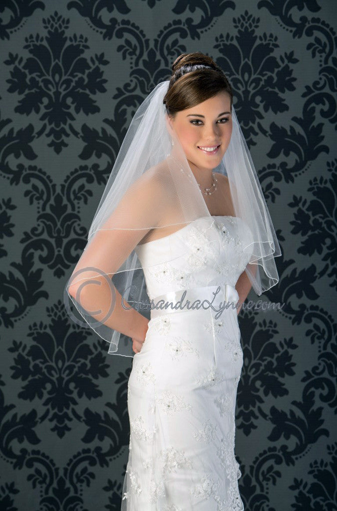 Wedding Veil with Corded Edge Waist Length Two Tier