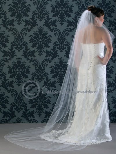 Chapel Wedding Veil Circular Two Tier with Corded Edge