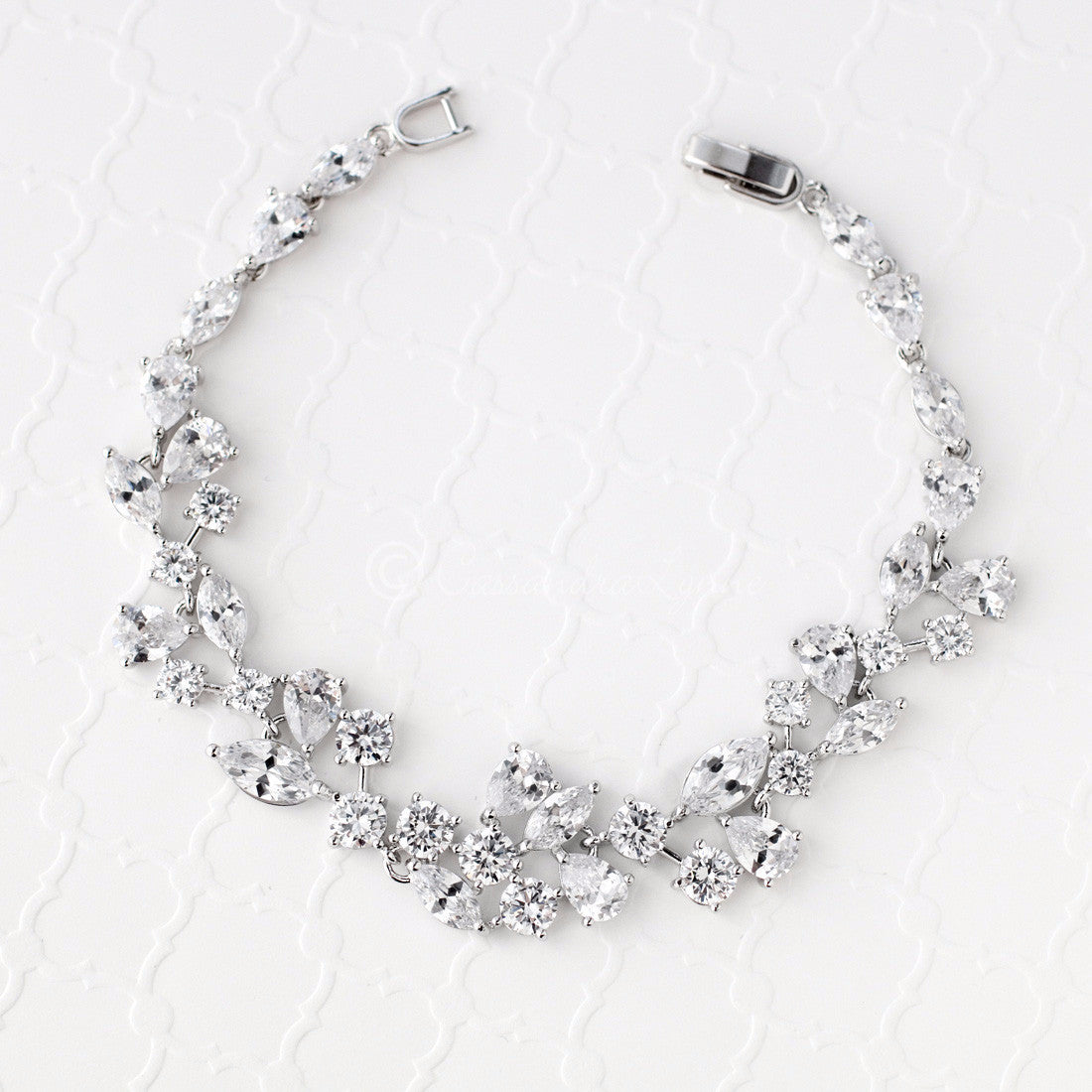Bridal Bracelet of CZ Teardrop Round Marquise Jewels