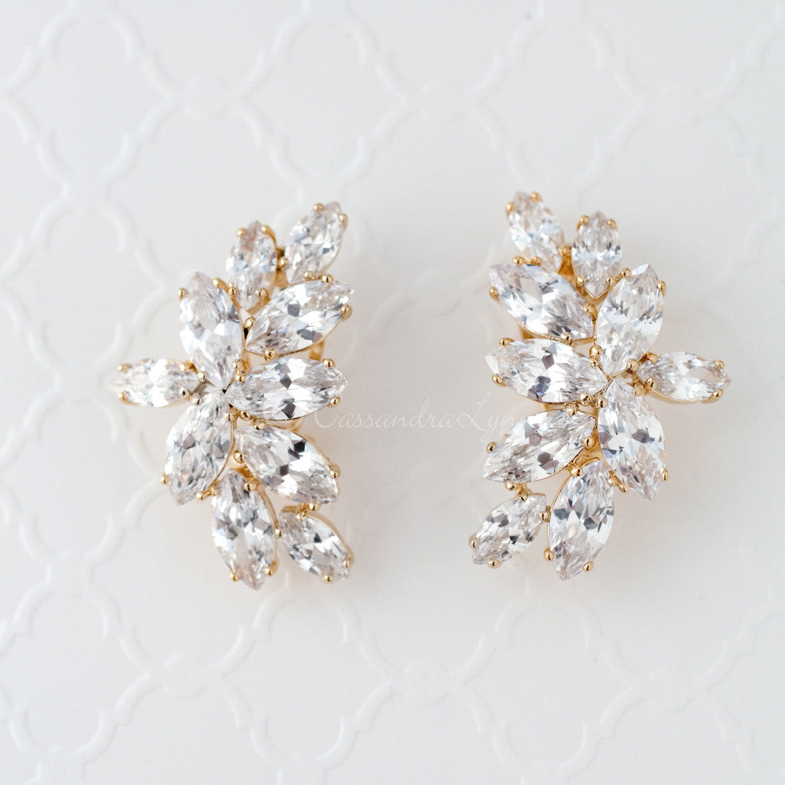 CZ Bridal Earrings of Marquise Leaf Clusters
