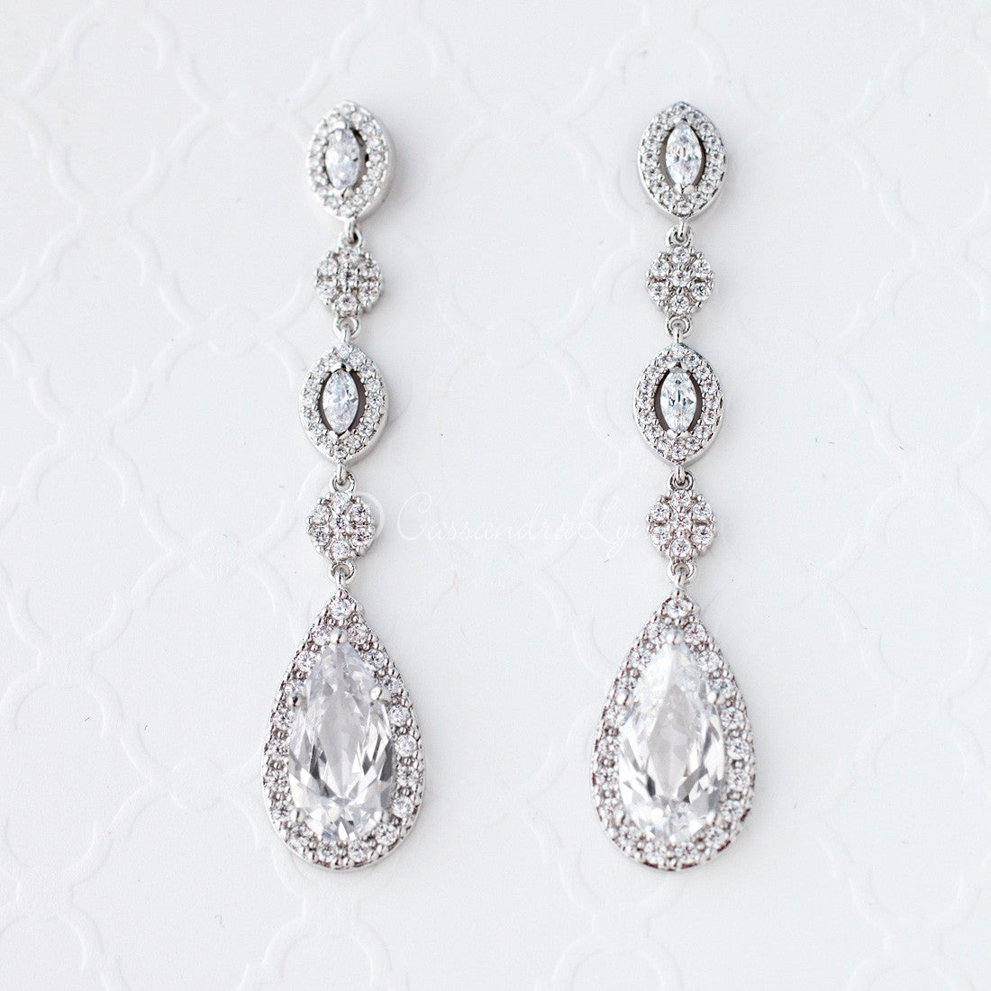 Sterling Silver CZ Wedding Earrings
