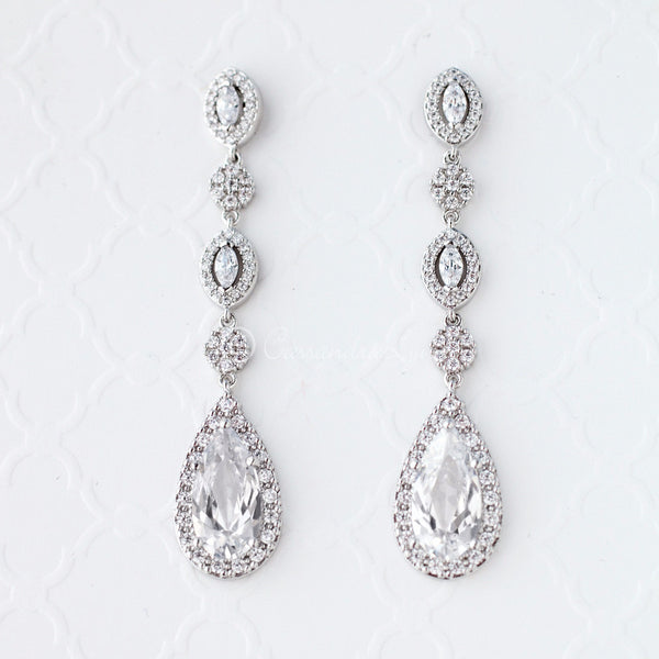 Clip-On CZ Wedding Earrings in Rhodium