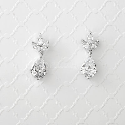 Clip-On Teardrop Jewel Classic CZ Earrings