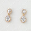 Double Teardrop Cut CZ Drop Earrings in Silver
