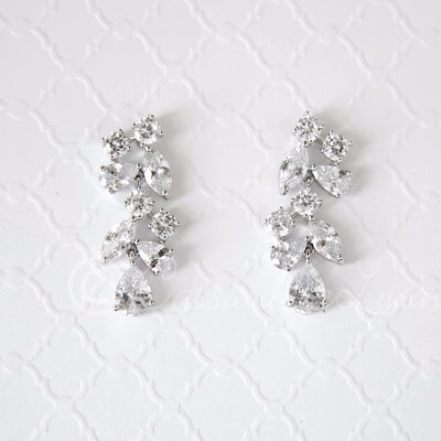CZ Wedding Earrings with Multi-Shape Jewels