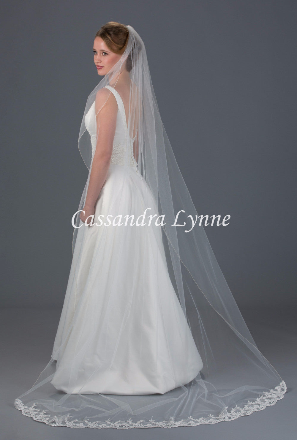 Chapel Length Wedding Veil with Lace on Bottom