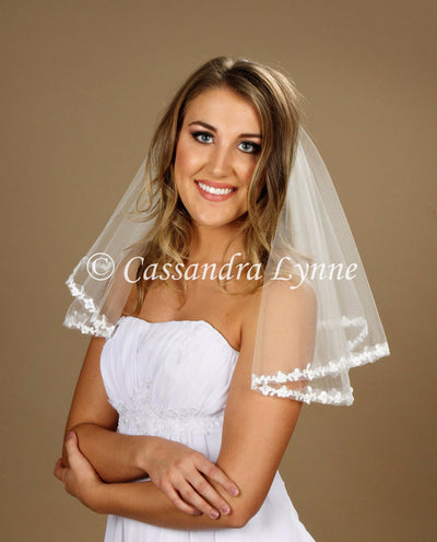 Two Layer Floral Lace Bridal Veil