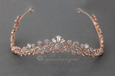 Crystal Contour Wedding Tiara in Rose Gold or Silver
