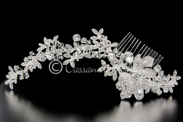 Crystal Bridal Hair Comb in a Rhinestone Vine Design