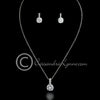 Round CZ jewel pendant and earrings