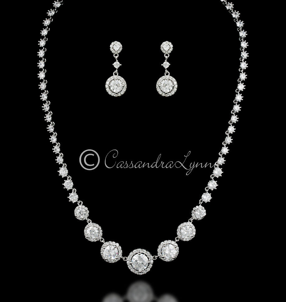 Pave Circles CZ Bridal Necklace and Earrings