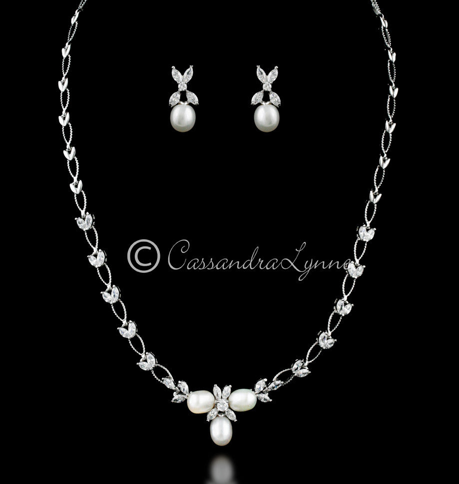 Pearl and Marquise Leaf Bridal Jewelry Set