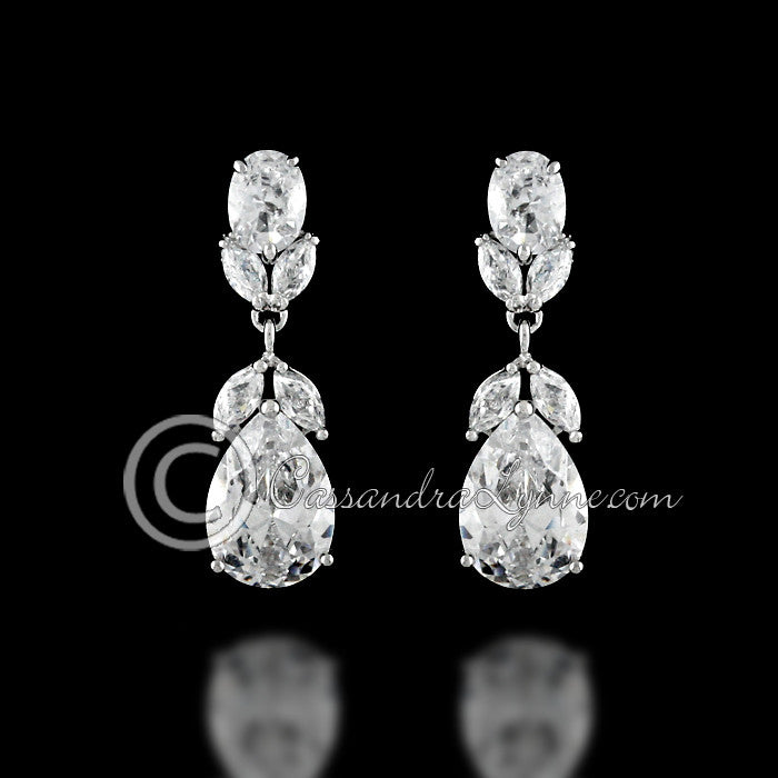 Clip-on Classic Wedding CZ Earrings Teardrop and Oval Jewels