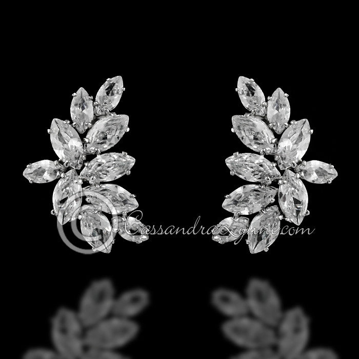 Leaves Silver Clip With Cubic Zirconia