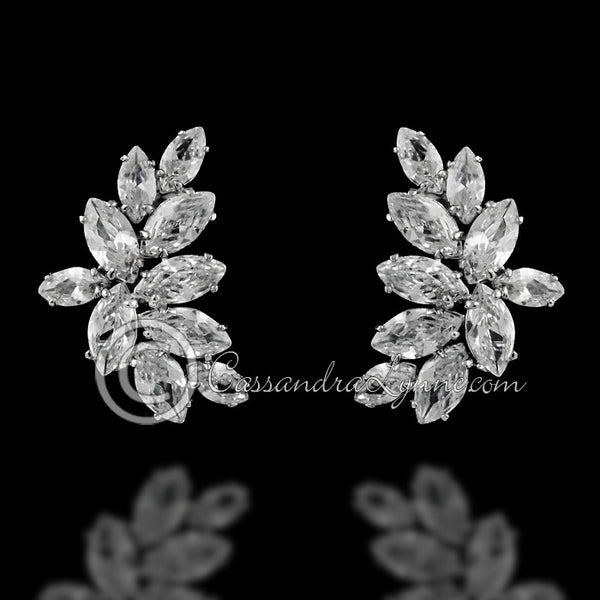 Clip-On Marquise CZ cluster Earrings