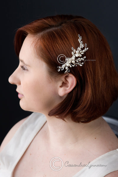 Freshwater Pearl Wedding Hair Comb With Marquise
