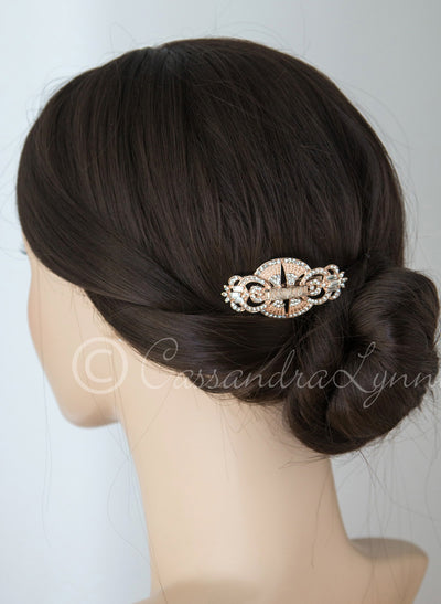 Rose Gold Art Deco Bridal Clip
