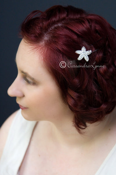 Crystal encrusted starfish Bridal hair pin