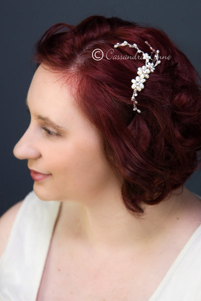 Wedding Hair Accessory with Ivory Pearl Flowers and Rhinestones