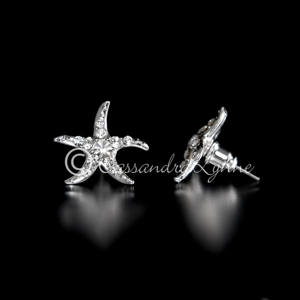 Starfish Wedding Earrings with Rhinestones