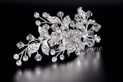 Swarovski crystal bead and rhinestone bridal clip
