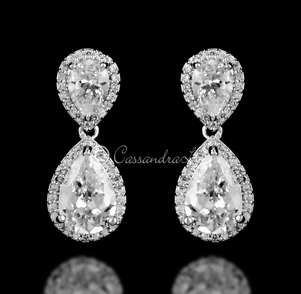 Clip-On Double Teardrop Cut CZ Drop Earrings in Silver