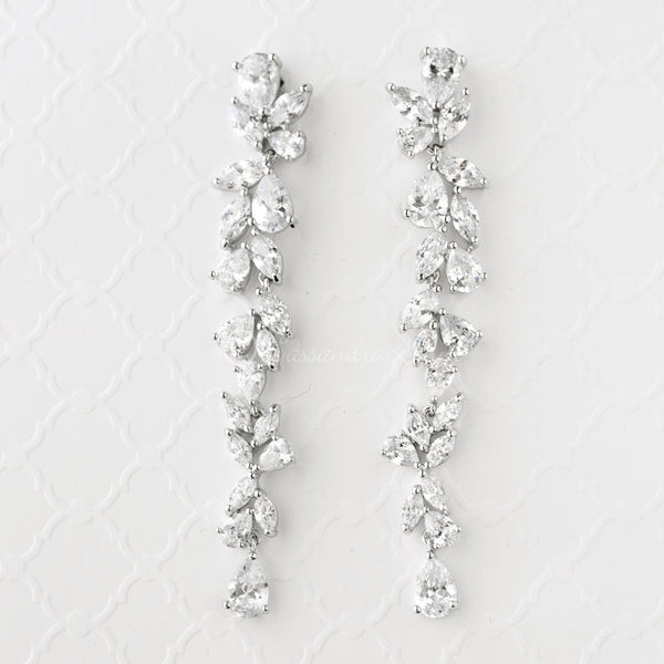 Long Bridal Earrings of Teardrop and Marquise CZ