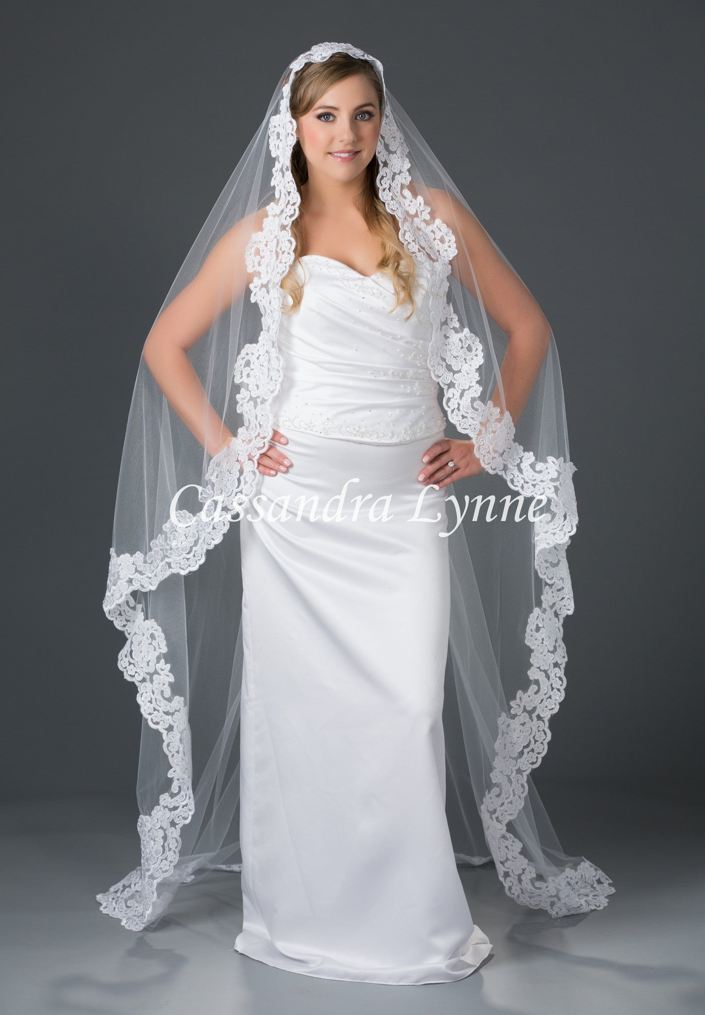 Floor Length Lace Mantilla Veil
