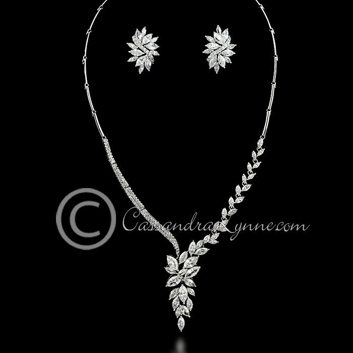 Asymmetrical marquise cluster CZ necklace set