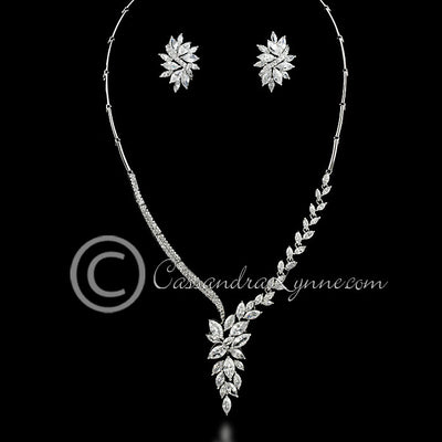 Asymmetrical Maquise Jewels CZ Wedding Necklace Set