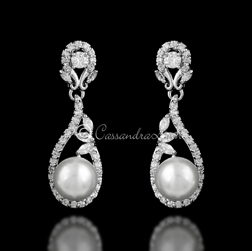 Clip-On Delicate CZ Drop Earrings with Pearls