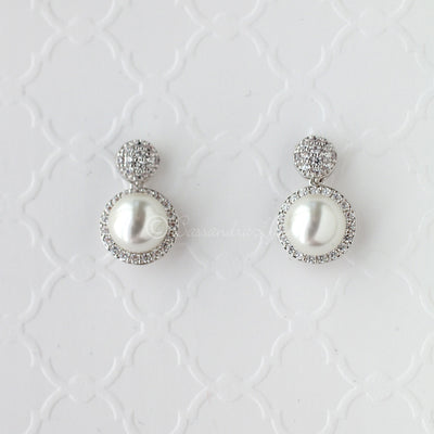 CZ and Pearl Drop Stud Earrings