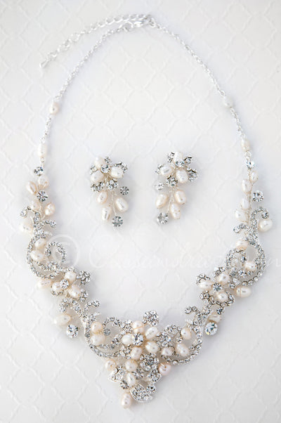 Wedding Necklace of Rhinestone Swirls and Ivory Pearls